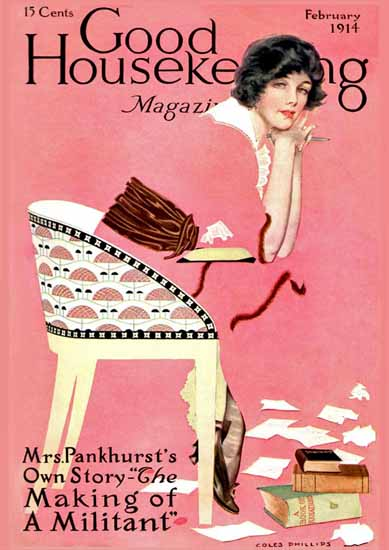 Roaring 1920s Coles Phillips Good Housekeeping Feb 1914 Copyright   Roaring 1920s Ad Art and Magazine Cover Art