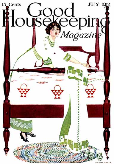 Roaring 1920s Coles Phillips Good Housekeeping July 1912 Copyright | Roaring 1920s Ad Art and Magazine Cover Art