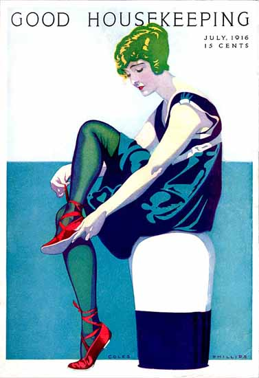 Roaring 1920s Coles Phillips Good Housekeeping July 1916 Copyright | Roaring 1920s Ad Art and Magazine Cover Art