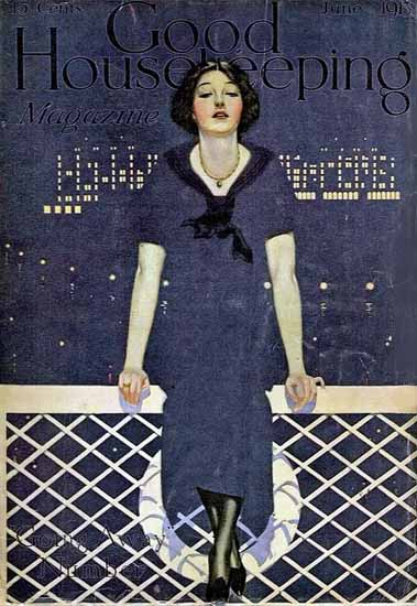 Roaring 1920s Coles Phillips Good Housekeeping June 1913 Girl Copyright | Roaring 1920s Ad Art and Magazine Cover Art