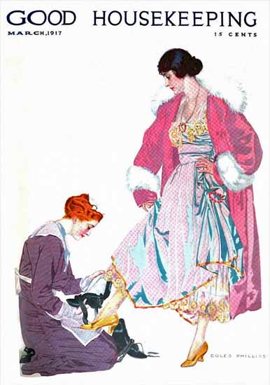 Roaring 1920s Coles Phillips Good Housekeeping March 1917 Copyright   Roaring 1920s Ad Art and Magazine Cover Art