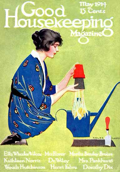 Roaring 1920s Coles Phillips Good Housekeeping May 1914 Copyright | Roaring 1920s Ad Art and Magazine Cover Art