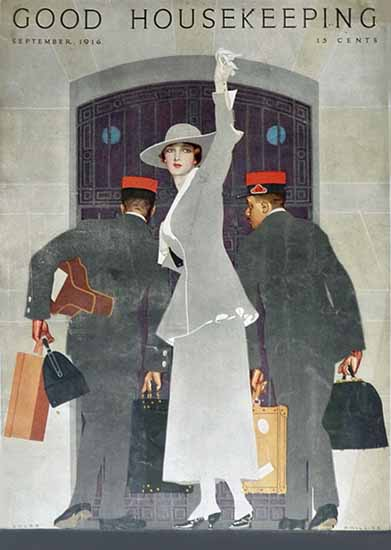 Roaring 1920s Coles Phillips Good Housekeeping Sept 1916 Copyright | Roaring 1920s Ad Art and Magazine Cover Art