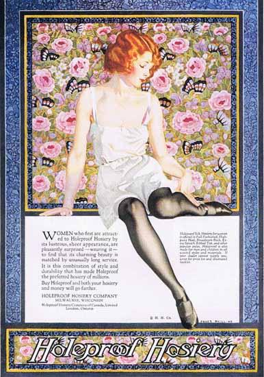Roaring 1920s Coles Phillips Holeproof Hosiery Girl Lingerie 1923 | Roaring 1920s Ad Art and Magazine Cover Art