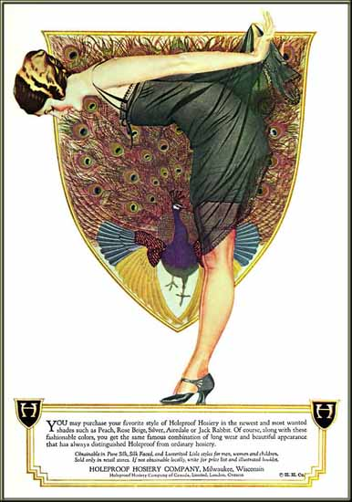 Roaring 1920s Coles Phillips Holeproof Hosiery Girl Milwaukee 1922   Roaring 1920s Ad Art and Magazine Cover Art