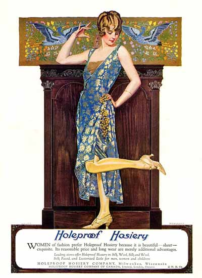 Roaring 1920s Coles Phillips Holeproof Hosiery Sheer Exquisite 1923 | Roaring 1920s Ad Art and Magazine Cover Art