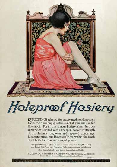 Roaring 1920s Coles Phillips Holeproof Hosiery Stockings 1922 | Roaring 1920s Ad Art and Magazine Cover Art