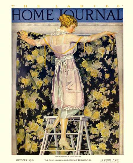 Roaring 1920s Coles Phillips Ladies Home Journal October 1921 Copyright | Roaring 1920s Ad Art and Magazine Cover Art