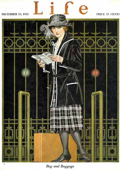 Roaring 1920s Coles Phillips Life Cover Baggage 1921-12-15 Copyright | Roaring 1920s Ad Art and Magazine Cover Art