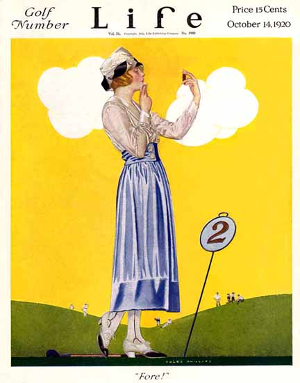 Roaring 1920s Coles Phillips Life Cover Fore 1920-10-14 Copyright | Roaring 1920s Ad Art and Magazine Cover Art