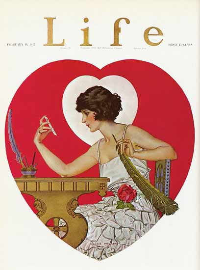Roaring 1920s Coles Phillips Life Cover Heart 1922-02-16 Copyright | Roaring 1920s Ad Art and Magazine Cover Art