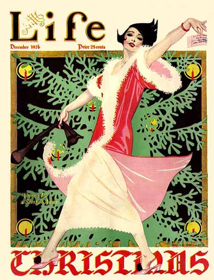 Roaring 1920s Coles Phillips Life Cover Santa Claus 1926-12-23 Copyright   Roaring 1920s Ad Art and Magazine Cover Art