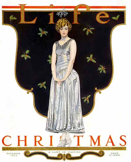 Roaring 1920s Coles Phillips Life Cover Waiting 1923-12-06 Copyright | Roaring 1920s Ad Art and Magazine Cover Art
