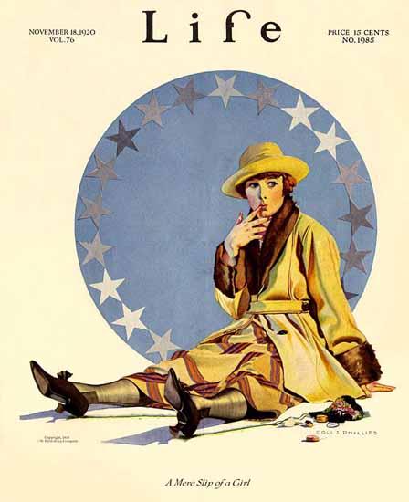 Roaring 1920s Coles Phillips Life Magazine 1920-11-18 Copyright   Roaring 1920s Ad Art and Magazine Cover Art
