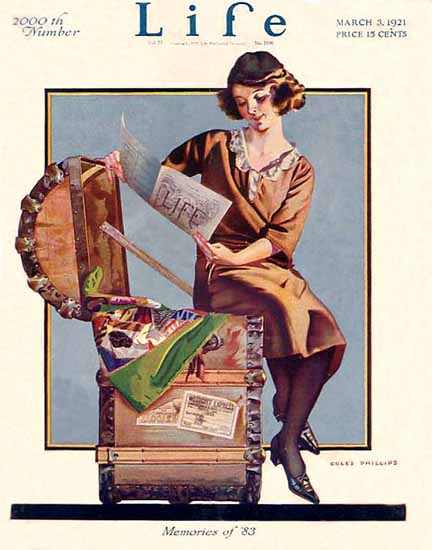 Roaring 1920s Coles Phillips Life Memories of 1883 1921-03-03 Copyright | Roaring 1920s Ad Art and Magazine Cover Art