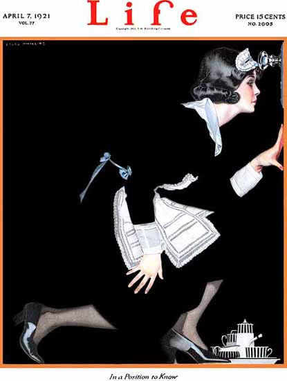 Roaring 1920s Coles Phillips Life Position to Know 1921-04-07 Copyright | Roaring 1920s Ad Art and Magazine Cover Art