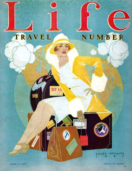 Roaring 1920s Coles Phillips Life Travel Number 1927-04-07 Copyright | Roaring 1920s Ad Art and Magazine Cover Art
