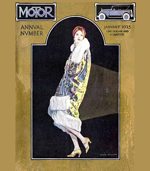 Roaring 1920s Coles Phillips Motor Magazine January 1925 | Roaring 1920s Ad Art and Magazine Cover Art