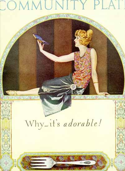 Roaring 1920s Coles Phillips Oneida Community Plate Adorable 1923 | Roaring 1920s Ad Art and Magazine Cover Art