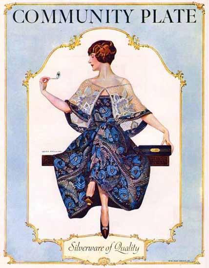 Roaring 1920s Coles Phillips Oneida Community Plate Silverware 1925 | Roaring 1920s Ad Art and Magazine Cover Art