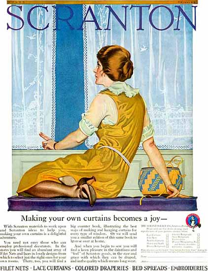 Roaring 1920s Coles Phillips Scranton Making Your Own Curtains 1922 | Roaring 1920s Ad Art and Magazine Cover Art