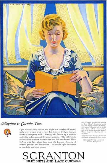 Roaring 1920s Coles Phillips Scranton Maytime Is Curtain Time 1923 | Roaring 1920s Ad Art and Magazine Cover Art