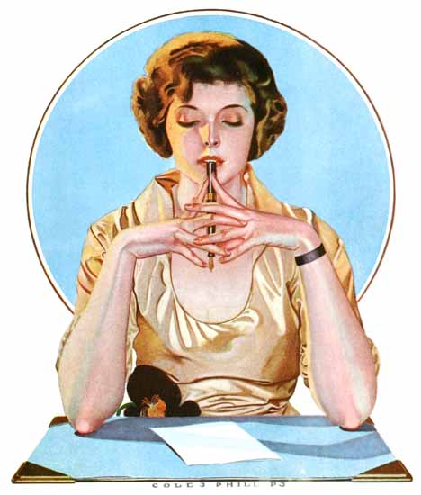 Roaring 1920s Coles Phillips Sheaffer Fountain Pens Companion 1920 | Roaring 1920s Ad Art and Magazine Cover Art