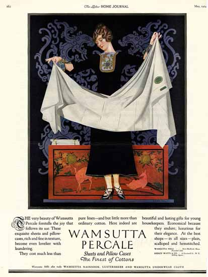 Roaring 1920s Coles Phillips Wamsutta Percale Sheets Pillows 1924 | Roaring 1920s Ad Art and Magazine Cover Art
