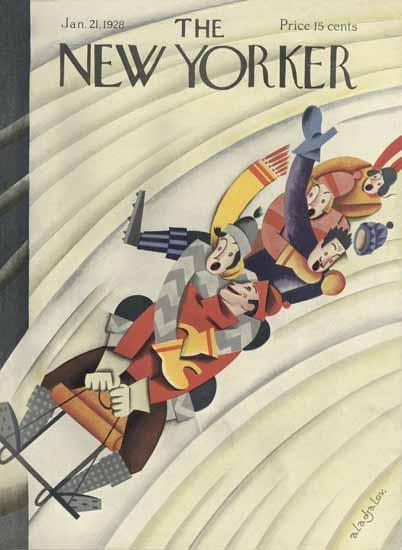 Roaring 1920s Constantin Alajalov The New Yorker 1928_01_21 Copyright | Roaring 1920s Ad Art and Magazine Cover Art