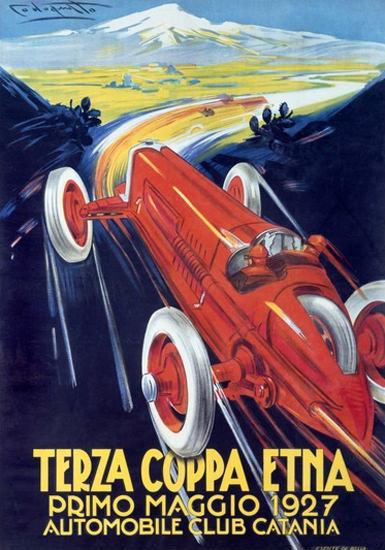 Roaring 1920s Coppa Etna 1927 Automobile Club Catania | Roaring 1920s Ad Art and Magazine Cover Art