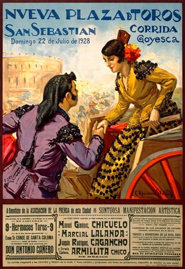 Roaring 1920s Corrida Goyesca San Sebastian 1928 Plaza   Roaring 1920s Ad Art and Magazine Cover Art
