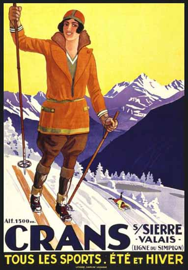 Roaring 1920s Crans Sierre Valais Tous Les Sports Switzerland 1925 | Roaring 1920s Ad Art and Magazine Cover Art