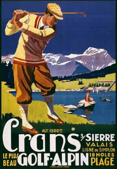 Roaring 1920s Crans Sur Sierre Crans Montana Golf Switzerland 1925 | Roaring 1920s Ad Art and Magazine Cover Art