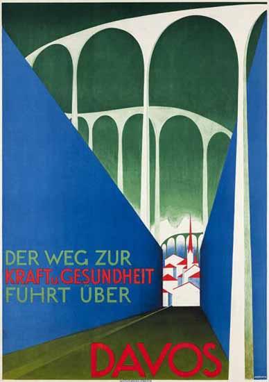 Roaring 1920s Davos Kraft Und Gesundheit Switzerland 1926 | Roaring 1920s Ad Art and Magazine Cover Art