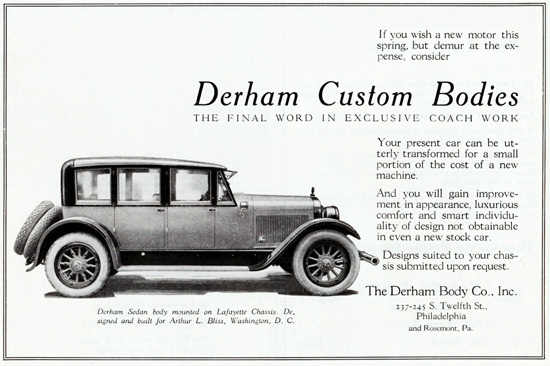 Roaring 1920s Derham Custom 1922 Body On Lafayette Chassis | Roaring 1920s Ad Art and Magazine Cover Art