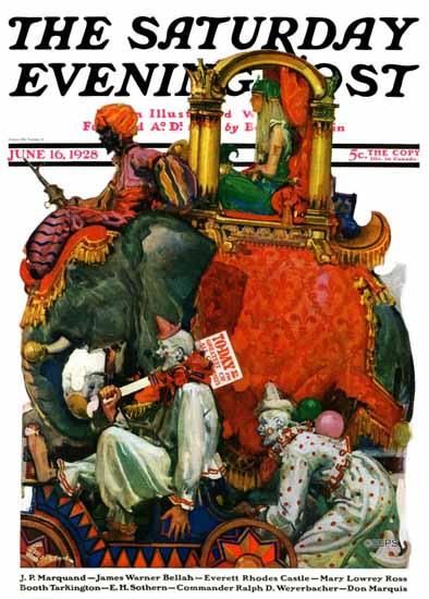 Roaring 1920s EM Jackson Cover Saturday Evening Post Circus 1928_06_16 | Roaring 1920s Ad Art and Magazine Cover Art