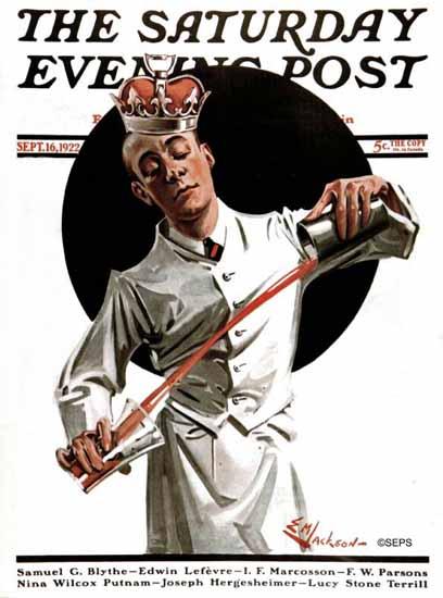 Roaring 1920s EM Jackson Saturday Evening Post Bartender 1922_09_16 | Roaring 1920s Ad Art and Magazine Cover Art