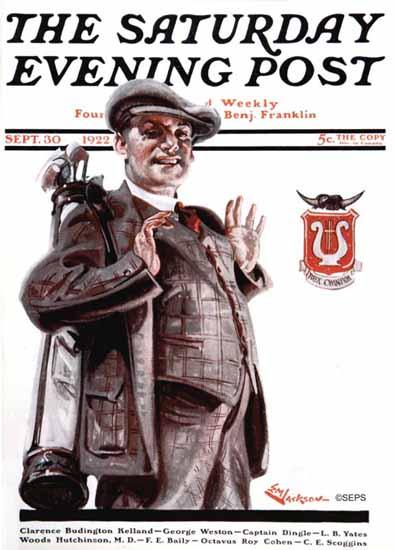 Roaring 1920s EM Jackson Saturday Evening Post Golfer 1922_09_30   Roaring 1920s Ad Art and Magazine Cover Art