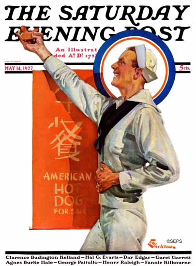 Roaring 1920s EM Jackson Saturday Evening Post Hot Dog 1927_05_14 | Roaring 1920s Ad Art and Magazine Cover Art