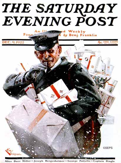 Roaring 1920s EM Jackson Saturday Evening Post Postman 1922_12_09 | Roaring 1920s Ad Art and Magazine Cover Art