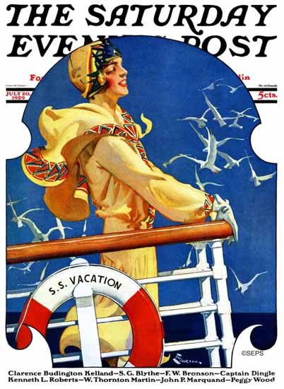 Roaring 1920s EM Jackson Saturday Evening Post SS Vacation 1929_07_20 | Roaring 1920s Ad Art and Magazine Cover Art