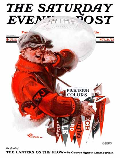 Roaring 1920s EM Jackson Saturday Evening Post Your Colors 1923_11_24 | Roaring 1920s Ad Art and Magazine Cover Art