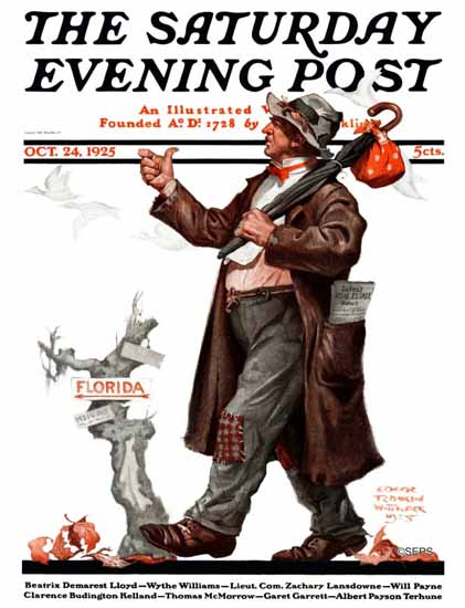 Roaring 1920s Edgar Franklin Wittmack Saturday Evening Post 1925_10_24 | Roaring 1920s Ad Art and Magazine Cover Art