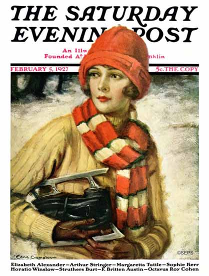Roaring 1920s Edna Crompton Artist Saturday Evening Post 1927_02_05 | Roaring 1920s Ad Art and Magazine Cover Art
