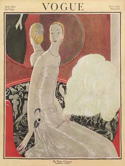 Roaring 1920s Eduardo Garcia Benito Vogue Cover 1922-10-01 Copyright | Roaring 1920s Ad Art and Magazine Cover Art