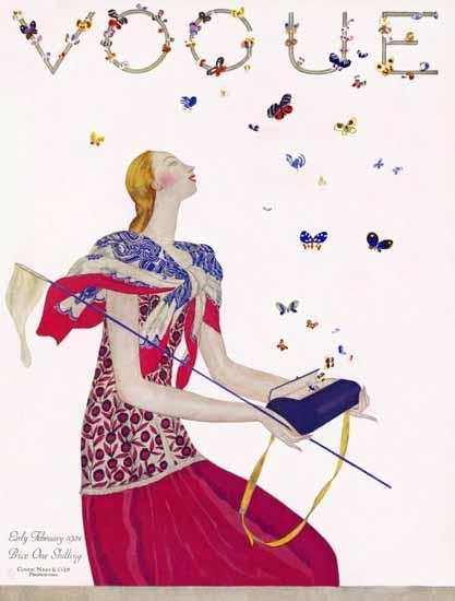 Roaring 1920s Eduardo Garcia Benito Vogue Cover 1924-02-01 Copyright   Roaring 1920s Ad Art and Magazine Cover Art