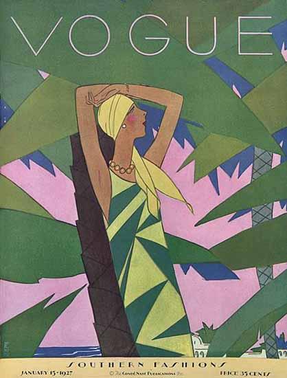 Roaring 1920s Eduardo Garcia Benito Vogue Cover 1927-01-15 Copyright   Roaring 1920s Ad Art and Magazine Cover Art