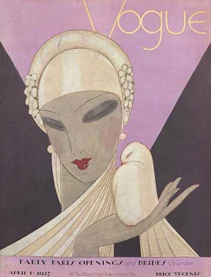 Roaring 1920s Eduardo Garcia Benito Vogue Cover 1927-04-01 Copyright | Roaring 1920s Ad Art and Magazine Cover Art