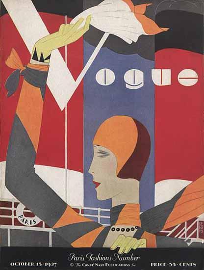 Roaring 1920s Eduardo Garcia Benito Vogue Cover 1927-10-15 Copyright   Roaring 1920s Ad Art and Magazine Cover Art