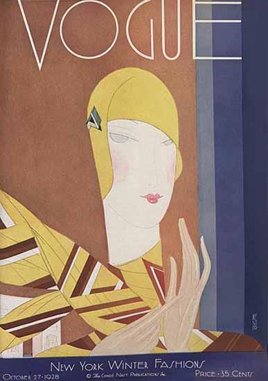 Roaring 1920s Eduardo Garcia Benito Vogue Cover 1928-10-27 Copyright | Roaring 1920s Ad Art and Magazine Cover Art